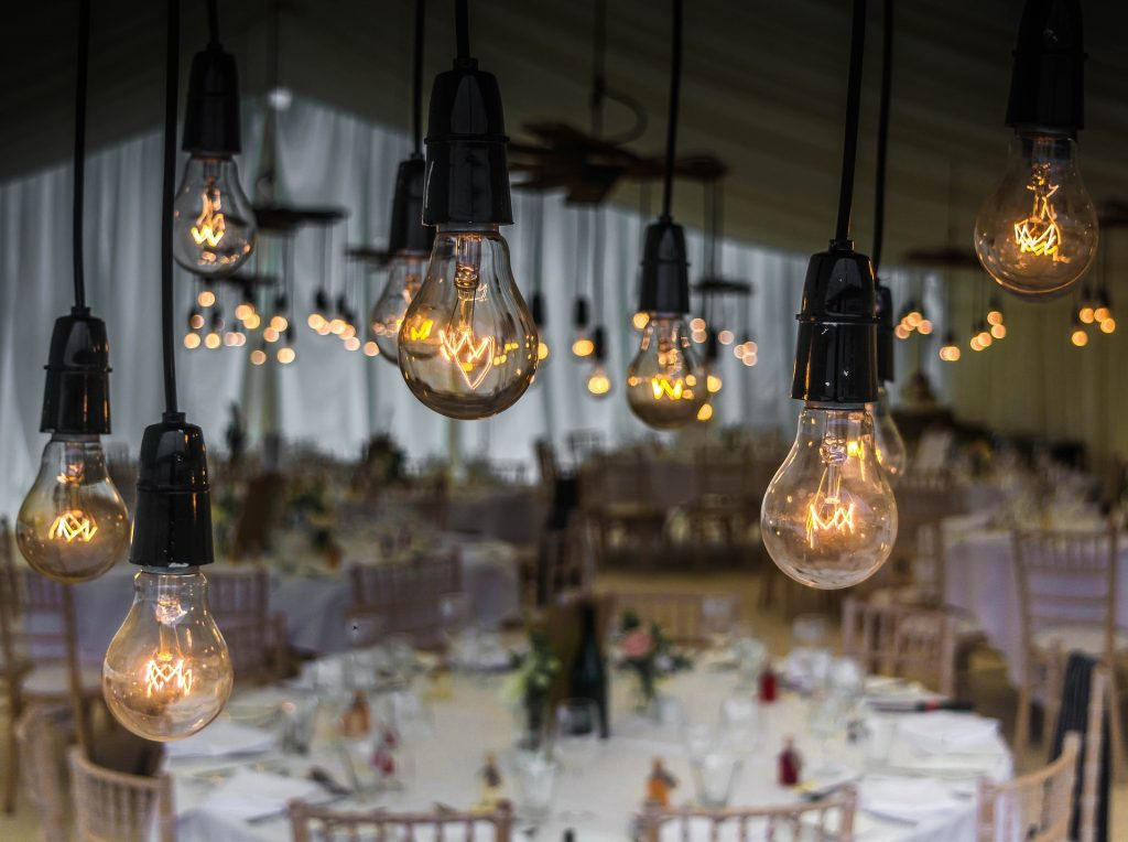 wedding table and lights
